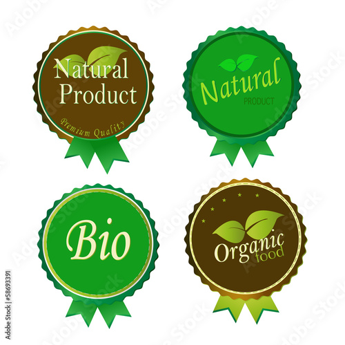 Set of Fresh Organic Labels and Elements.vector illustration