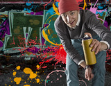 Young graffiti artist with copyspace