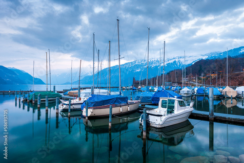 .Yachts and boats on Lake Thun in the Bernese Oberland, Switzer
