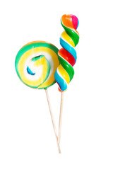 Two lollipops over white background.