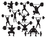 Vector weightlifter silhouette