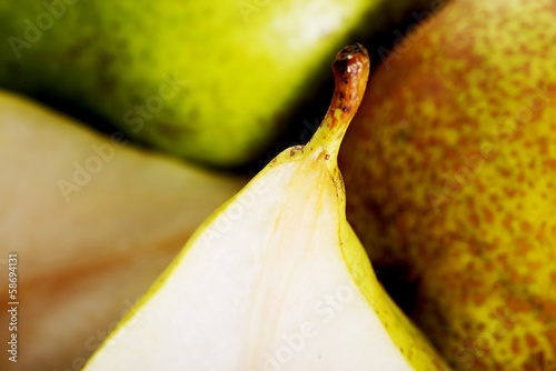 Close up on pears. Macro shot.