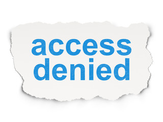 Safety concept: Access Denied on Paper background