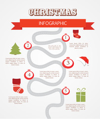 merry christmas infographics, timeline with steps