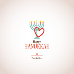 i love hanukkah, hanukkah menora with heart