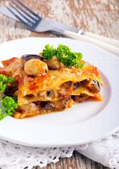 mushroom lasagna on plate