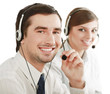 Businesspeople with headset  in call center.