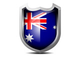 Elegant flag of Australia metal shield on a white background