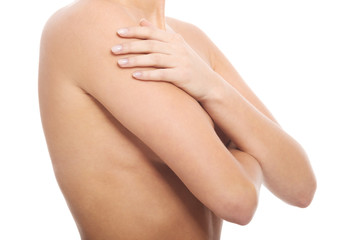 Female's body, breast. Body part.