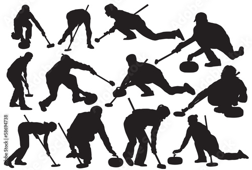 Vector curling sport silhouette