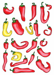set doodle pepper background, red hot chili pepper