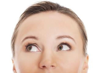 Woman's face, cut out composition.