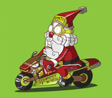 Christmas delivery. Santa Claus on a motorcycle