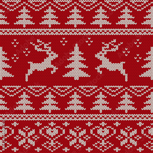 Cotton fabric Scandinavian knitted seamless pattern