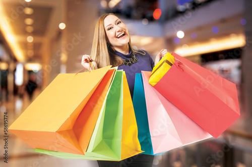happy female shopping mall