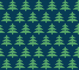 Seamless knitted pattern with trees