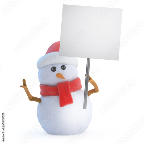 Santa snowman holds up a placard