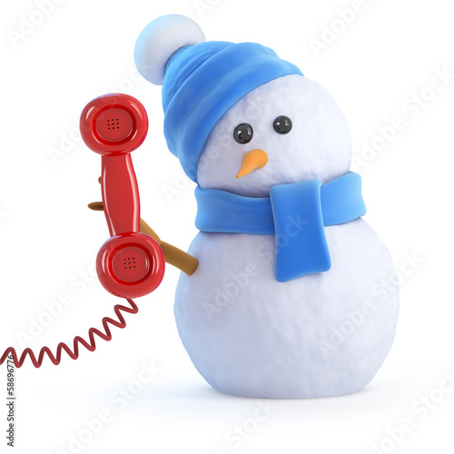 Blue snowman answers the phone