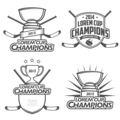 Ice hockey cup champions labels, badges and design elements