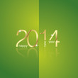 Gold New Year 2014 green background vector