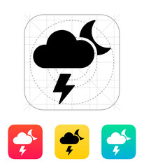 Lightning at night weather icon.