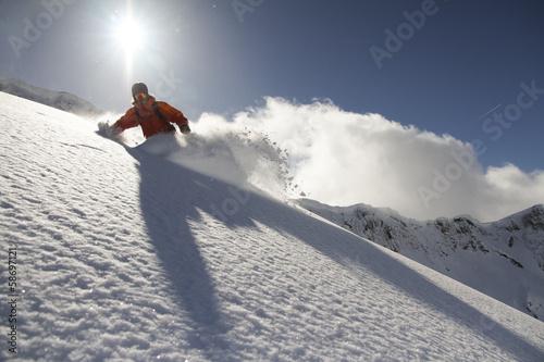 Plexiglas Wintersporten Snowboard freerider