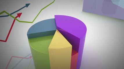 growing and changing graphs. seamless looping 3d animation