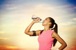 sporty girl  drinking water
