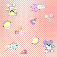 Cheerful children wallpaper. Illustration texture. Vector