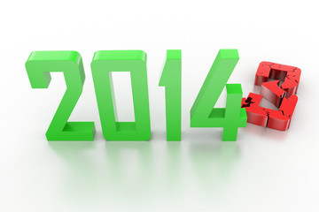 3d render of new year 2014 - 2013 change to 2014