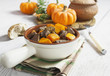 Baked pumpkin with meat. garlic and herbs