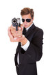 Male Secret Agent Aiming With Gun