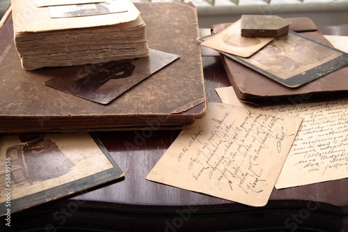 Old books, photos and letters.