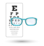 unsharp snellen chart and sharp letter with glasses on white bac