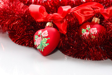 Decorative red heart with ribbon