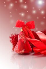 Christmas card with red bell