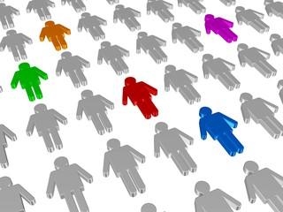 Menschen, die aus der Masse hervortreten - Auswahl an Bewerbern