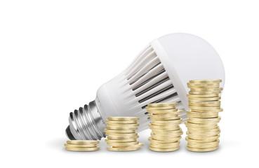Money saved with LED bulb. Isolated on white background