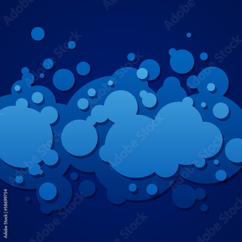 Abstract blue background with round bubbles