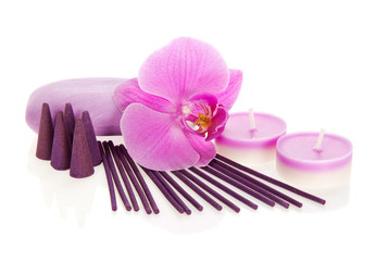 Orchid flower, aromatic set and soap