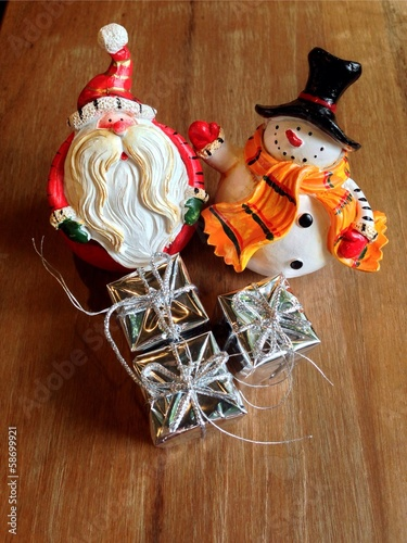 The santa claus and snowman as christmas item