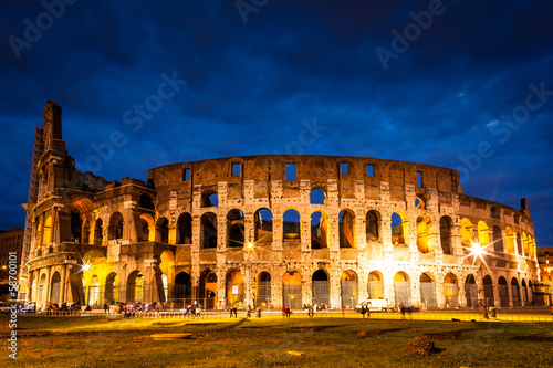Italy Illuminated Colosseum at night