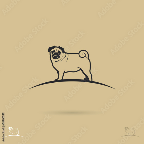 Pug dog label