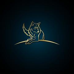 Golden wolf label