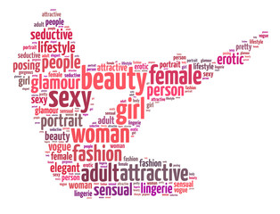 Words illustration of a sexy woman over white background