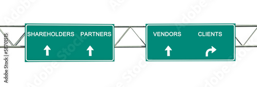 Road signs to stakeholders, partners, vendors, clients