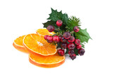 orange slices and red berry