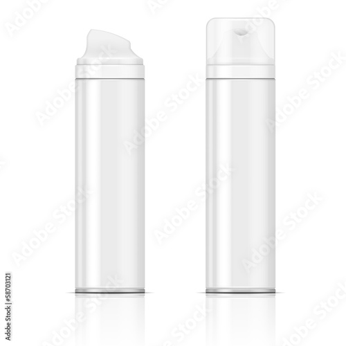 White shaving foam bottles