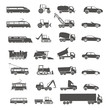 Modern and retro transport silhouettes collection isolated on wh