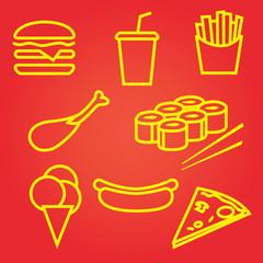 fastfood icons set